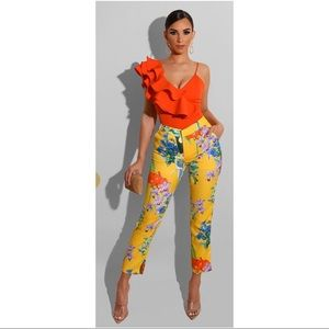 Orange Chic Ruffle Body Suit
